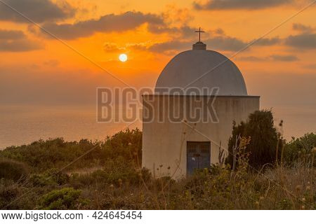 Sunset View Of The Holy Family Chapel, And The Mediterranean Sea, In Haifa, Israel