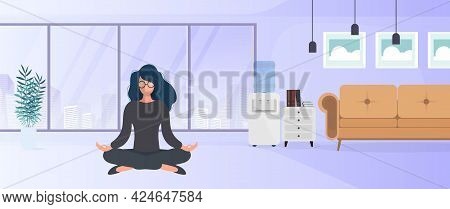 The Girl Is Meditating In The Office. The Girl Practices Yoga. Room, Office, Floor Lamp, Room Growth