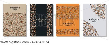Set Of Vertical Arabesque Floral Banners. Branches With Flowers, Leaves And Petals