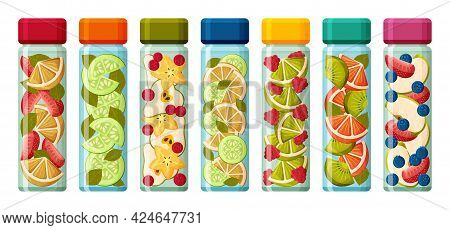 Infused Water In Glass Bottles. Fruits And Vegetables In Water. Detox And Health Concept. Variety Of