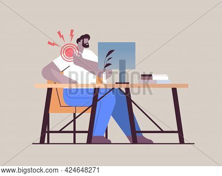 Businessman At Workplace Suffering From Shoulder Pain Inflammation Of Muscles Concept