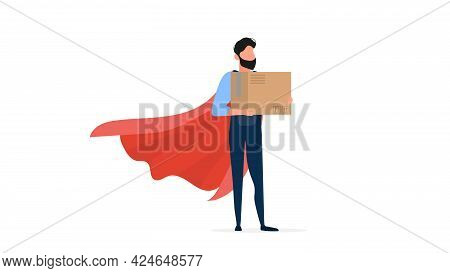 A Loader With A Red Cloak Holds A Cardboard Box. Loader Superhero. The Guy In The Jumpsuit Is Holdin