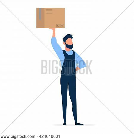 A Loader Holds A Box Over His Head. The Guy In The Jumpsuit Is Holding A Box. The Concept Of Deliver