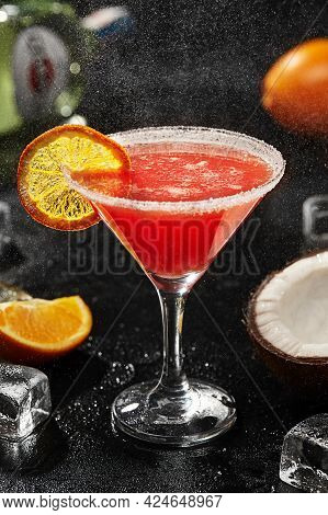 Cocktail With Martini, Coconut Liqueur, Orange Juice, Grenadine