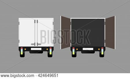 Truck Rear View. Open Truck. Element For Design On The Theme Of Transportation And Delivery Of Goods