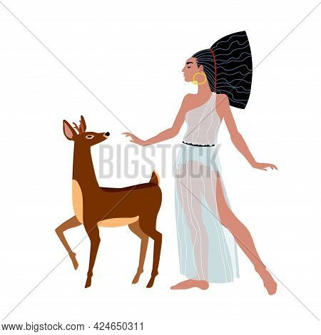 Fallow Deer And Pretty Woman With In An Ancient Greek Tunic, Hunting Goddess Artemis With Her Pet, C