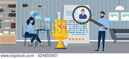 Vacant Place. The Guy Under The Magnifying Glass Reviews The Resume. The Girl At The Computer Is Loo
