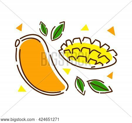 Juicy Mango With Leaves On A White Background. Abstract Vector Illustration.