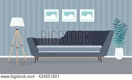 Modern Room. Living Room With A Sofa, Lamp, Paintings. Furniture. Interior. Vector.