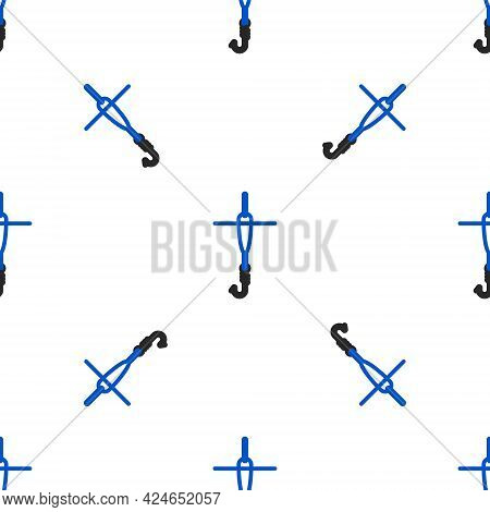 Line Fishing Hook And Float Icon Isolated Seamless Pattern On White Background. Fishing Tackle. Colo