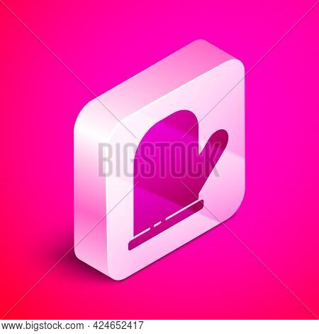 Isometric Oven Glove Icon Isolated On Pink Background. Kitchen Potholder Sign. Cooking Glove. Silver