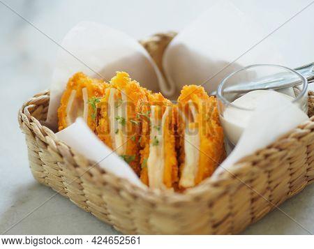 Chicken Cordon Bleu In Wicker Basket, Food On Table
