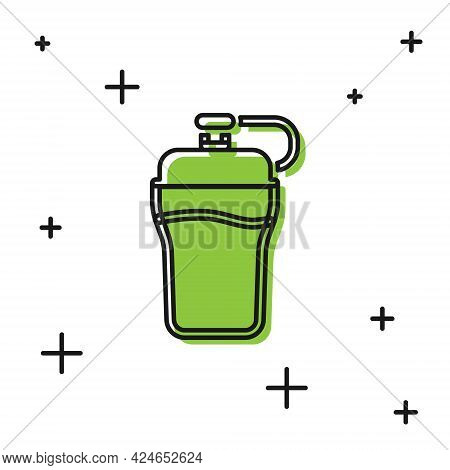 Black Fitness Shaker Icon Isolated On White Background. Sports Shaker Bottle With Lid For Water And