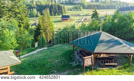 Aerial View From Slovakia Site Of Tripoint Of Slovak, Czech Republic, And Poland. Border Of Three Co