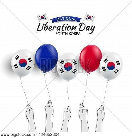 Vector Illustration Of National Liberation Day Of Korea. Hands With Us Flag Balloons
