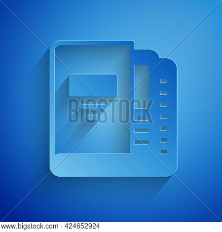 Paper Cut Office Folders With Papers And Documents Icon Isolated On Blue Background. Office Binders.