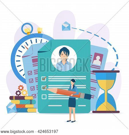 Vector Illustration In A Flat Style. Document With Personal Data, Application For Employment, Profes
