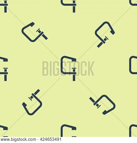 Blue Clamp And Screw Tool Icon Isolated Seamless Pattern On Yellow Background. Locksmith Tool. Vecto