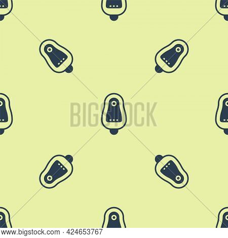 Blue Toilet Urinal Or Pissoir Icon Isolated Seamless Pattern On Yellow Background. Urinal In Male To
