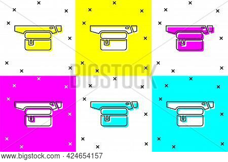 Set Waist Bag Of Banana Icon Isolated On Color Background. Vector