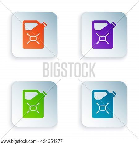 Color Canister For Flammable Liquids Icon Isolated On White Background. Oil Or Biofuel, Explosive Ch