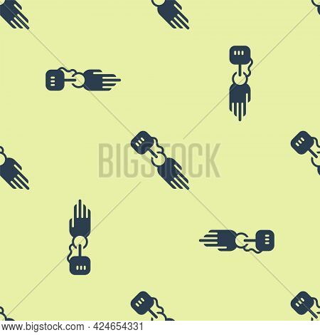 Blue Prosthesis Hand Icon Isolated Seamless Pattern On Yellow Background. Futuristic Concept Of Bion