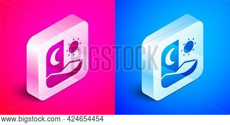 Isometric Ramadan Fasting Icon Isolated On Pink And Blue Background. Fast Day And Night. Religious F