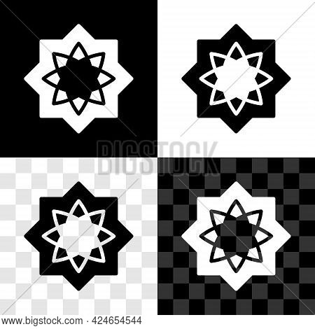 Set Islamic Octagonal Star Ornament Icon Isolated On Black And White, Transparent Background. Vector