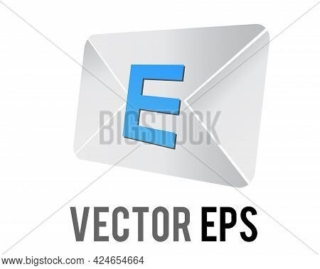 Vector Back Of White Envelope Icon Envelope Imprinted With A Capital Blue Letter E