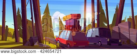 Car Travel, Road Trip By Automobile At Summer Vacation, Auto With Bags On Roof Drive Forest Highway