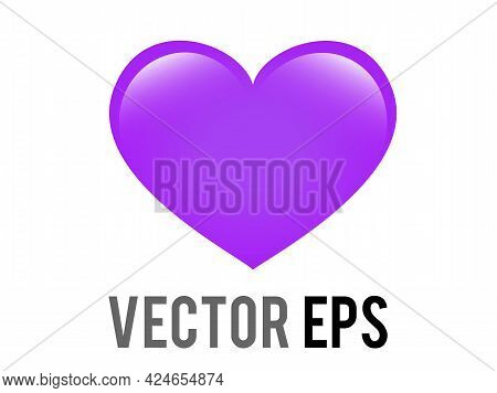 Vector Classic Love Gradient Purple Glossy Heart Icon, Used For Affection, Joy, Admiration