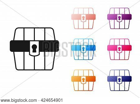 Black Antique Treasure Chest Icon Isolated On White Background. Vintage Wooden Chest With Golden Coi