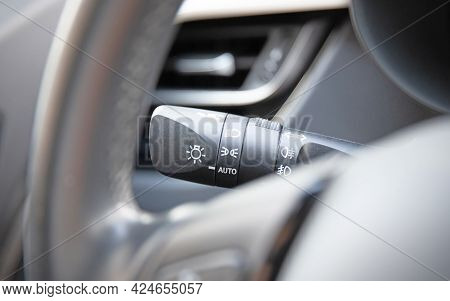 Switch Off Lights In A Car - Close-up Car Integrated Turning Indicator With Headlight Switch Toggle