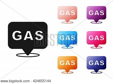 Black Location And Petrol Or Gas Station Icon Isolated On White Background. Car Fuel Symbol. Gasolin