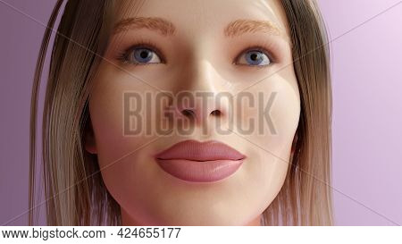 Young Woman Pink Lips Shirt Blond Hairs Girly Style Close-up 3d Illustration