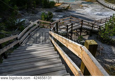 A Nature Trail Boardwalk In Yellowstone National Park, Wyoming