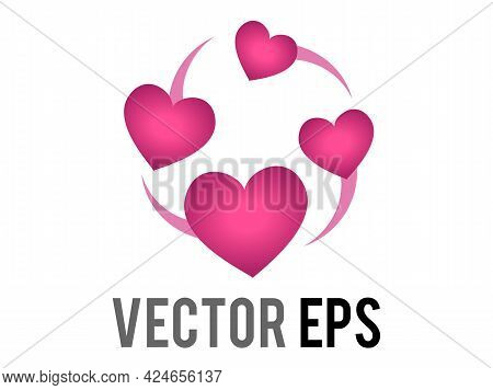 Vector Two Revolving Hearts Switching Places Icon With Circular Line