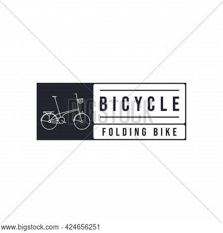 Bicycle Bike Icon Line Art Logo Vector Illustration Design. Folding Bike Logo Concept