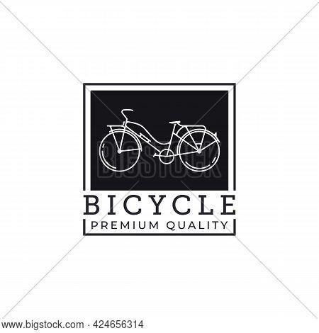 Bicycle Bike Icon Line Art Logo Vector Illustration Design. Vintage Bike Logo Concept