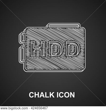 Chalk Hard Disk Drive Hdd Icon Isolated On Black Background. Vector