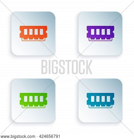 Color Ram, Random Access Memory Icon Isolated On White Background. Set Colorful Icons In Square Butt
