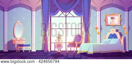 Princess Royal Bedroom, Vintage Room Interior With Elegant Retro Furniture, Bed, Cupboard, Floral Pa