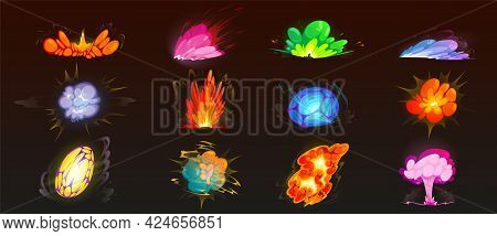 Cartoon Bomb Explosion Set. Clouds, Boom Effect And Smoke Elements For Ui Game Design. Dynamite Dang