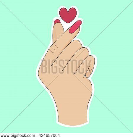 Korean Heart. Sticker On A White Backing. Finger Gesture. Colored Vector Illustration. Isolated Deli