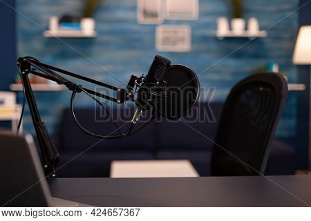 Empty Podcast Room With Professional Microphone In Vlogger Home Studio In Living. Influencer Recordi