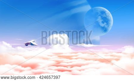 Science Fiction Vector Illustration Of An Alien Planet Above The Sea Of Clouds With The Vast View Of