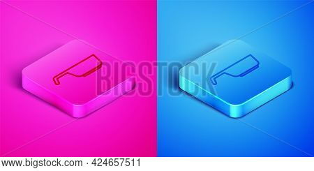 Isometric Line Frying Pan Icon Isolated On Pink And Blue Background. Fry Or Roast Food Symbol. Squar