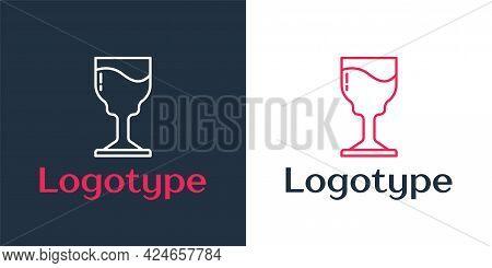 Logotype Line Wine Glass Icon Isolated On White Background. Wineglass Icon. Goblet Symbol. Glassware