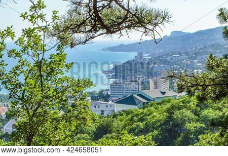 Panoramic View Of The Sea Coast With Hotels And Buildings, Top View, Southern Coast Of Crimea.