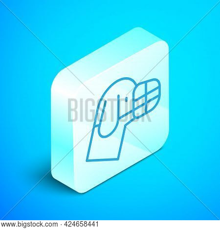 Isometric Line Dog In Muzzle Icon Isolated On Blue Background. Accessory For Dog. Silver Square Butt